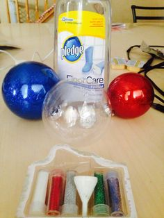Saw these being done on HGTV ~ Glass Ball Ornaments! SO easy! All you need is a clear glass ball, liquid floor wax, glitter!   Just squirt about a tablespoon of the pledge floor care (finish) into the bulb. Swirl it around all inside. (Do not shake because you do not want bubbles.) Pour out any extra. Then pour your choice of color glitter into the bulb. Swirl that around and pour out any extra. Let dry. Tie a cute ribbon on top. . . Done!
