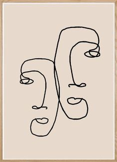 I look over at you. Modern Wall Art by The Miuus Studio. Available as an instant… - Art ideas Abstract Line Art, Abstract Faces, Modern Abstract Art, Abstract Print, Art Abstrait Ligne, Face Line Drawing, Drawing Faces, Art Minimaliste, Minimal Art