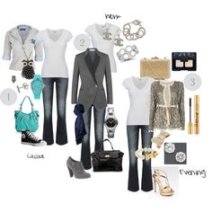#1, created by soulglitter on Polyvore.  Staple Wardrobe Items, Three Different Looks - Collection: Basic white t-shirt and jeans.
