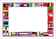 Flags of the world A4 page borders (SB5827) - SparkleBox