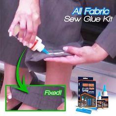 Shop OFF All Fabric Sew Glue Kit Ideas fabric Glue Kit sew Sewing hacks videos Shop Simple Life Hacks, Useful Life Hacks, Fabric Glue, Fabric Crafts, Fabric Sewing, Fleece Fabric, Sew Ins, Cool Inventions, Diy Home Crafts