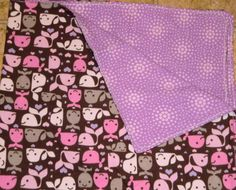 Purple Whales Infant Receiving Blanket by StitchesByDee on Etsy, $12.00