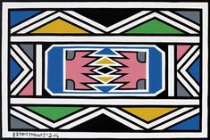 Back to the Future: Esther Mahlangu design unique interior of the BMW luxury Sedan - COLLECTOR. Africa Symbol, African Patterns, South African Artists, Bright Colours, Back To The Future, Dutch, Arts And Crafts, Bmw, Symbols