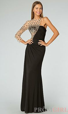 Floor Length One Sleeve Ruched Dress at PromGirl.com
