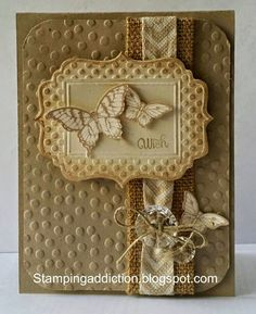 Stampin' Up! ... handmade card from Stamping Addiction ... monochromatic kraft ... butterflies ... dots embossing folder texture ... great card!