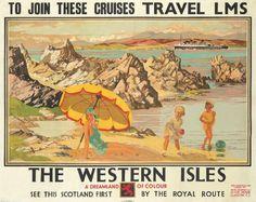 The Western Isles Vintage Poster (artist: Gilfillan) UK c. 1930 (Art Prints, Wood & Metal Signs, Can Cruise Travel, Travel Ads, Train Travel, Railway Posters, Train Posters, British Travel, Nostalgia, West Coast Scotland, Scottish Islands