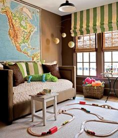 Playroom Ideas....love the big map!