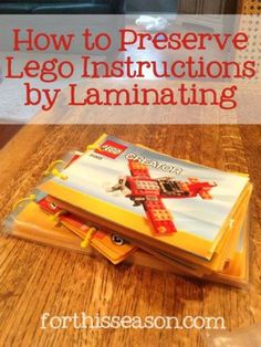How To Preserve Lego Instructions by Laminating