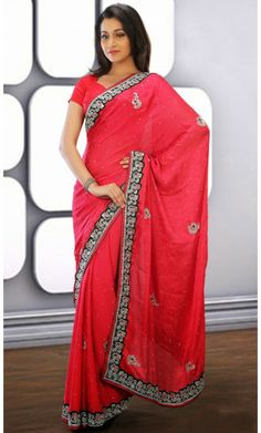 Fancy Red Embroidered Saree #Sarees #Sarees-OnlineShopping