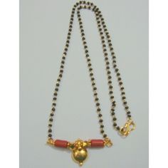 Black beads mangalsutra with coral - Online Shopping for Necklaces by Suyash Enterprises