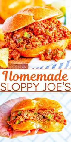 Homemade Sloppy Joe's – The BEST and most flavorful Sloppy Joe's that the whole family will ADORE! So EASY, ready in 20 minutes, and can be made with either ground beef or ground turkey to keep them HEALTHIER! Perfect for get-togethers, parties, or a fast family dinner on busy weeknights! Grilled Turkey Burgers, Salmon Burgers, Homemade Sloppy Joes, Cooking With Beer, Mac And Cheese Pasta, Ground Turkey, Quick Easy Meals, Easy Dinners, Best Comfort Food