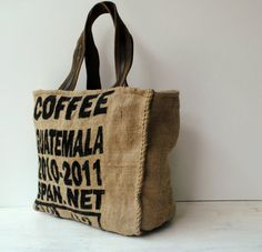 Coffee Sack Tote Bag Great for Market or Beach by KTmakes on Etsy, £28.00
