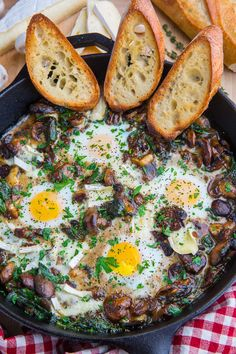 Mushroom and Brie Baked Eggs Recipe : Eggs baked in a a creamy mushroom brie sauce! Egg Recipes, Brunch Recipes, Breakfast Recipes, Cooking Recipes, Mexican Breakfast, Breakfast Sandwiches, Breakfast Pizza, Breakfast Bowls, Burger Recipes