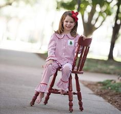 Girls Smocked Christmas Tree Loungewear Red & White Knit by Smocked Auctions! Pre Order now for October delivery! #SmockedAuctions