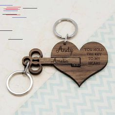 This personalized key chain is perfect for couples for their Anniversary gift # DIY Gifts for couples Couple's Personalized Wooden Anniversary Keychain Surprise Gifts For Him, Bday Gifts For Him, Thoughtful Gifts For Him, Romantic Gifts For Him, Romantic Ideas, Best Bday Gift, Father Birthday Gifts, Romantic Dates, Original Wedding Gifts