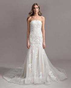 568a0c0b Style 7960 Shiloh Ti Adora by Allison Webb bridal gown - Ivory/Cashmere  lace and English net trumpet gown. Crescent neckline with sequin  embroidered lace ...