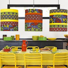 Colorful African wax lampshades