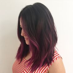 This beauty came to me with beautiful highlights and just wanted to add some color for her birthday  adding some fun to that blonde with @pravana #pravana #magenta #purple #haircolor #color #hair by #mizzchoi cut and styled by @salsalhair @ramireztransalon #ramireztran #ramireztransalon  (at Ramirez Tran Salon)