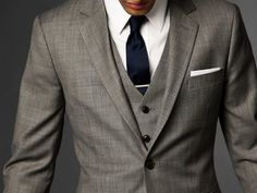 Three piece suit in silver grey and navy