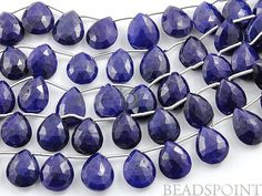 Dyed Natural Sapphire Faceted Pear AAA Quality by Beadspoint, $34.95