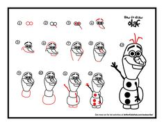 Simple step by step for kids on how to draw Olaf!