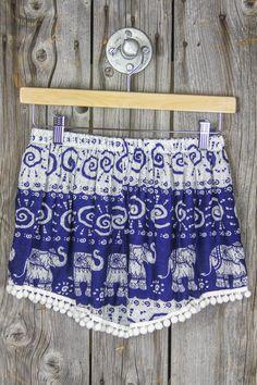 Pom Pom Shorts - Blue
