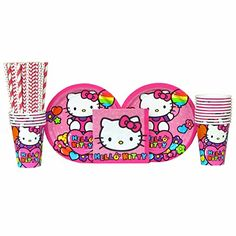 Hello Kitty Party Pack for 16 Guests Straws Plates Napkins and Cups Bundle for 16 >>> See this great product.Note:It is affiliate link to Amazon.
