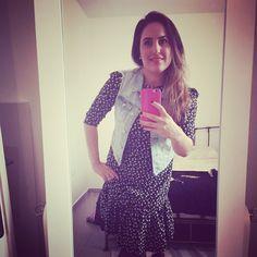 Stylish Ortal, in Black Alexa dress & cool denim vest. Black Friday sale, 20%off + free shipping ➡️ On all dresses, on my Etsy shop #etsysale #blackfriday #cybermonday #etsygifts #etsyfashion #modestfashion #modestdress #dressfortheoffice #tzniutfashion #tzniutfinds #dresswithsleeves