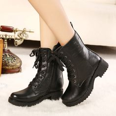Fashion Women's Combat Boots With Lace-Up and Zipper Design (BLACK,39) | Sammydress.com