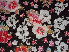 Destash Fabric black with flower print. $3.00, via Etsy.