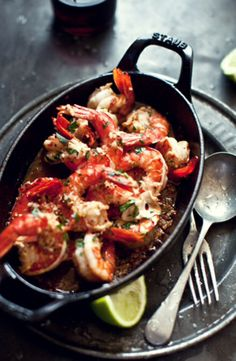 Sizzling Prawns with Garlic, Chilli, and Lime - -   Ingredients Used: Chicken Stock, Chilli Flakes, EVOO, Garlic, Green Prawns, Lime, Parsley, Smoked Paprika.  Just before serving, add any remaining marinade to the tops of the prawns and an extra spoonful of stock, then scatter with a handful of chopped parsley. Serve bubbling hot in individual heated cast iron bowls with extra lime wedges and lots of crusty bread.