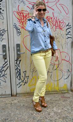 Pastel yellow jeans & light denim shirt. Perfect spring combo!