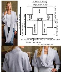 by Creative Knitting cardigan corto Diy Clothing, Sewing Clothes, Crochet Clothes, Sewing Patterns Free, Clothing Patterns, Knitting Patterns, Sewing Hacks, Sewing Tutorials, Creative Knitting