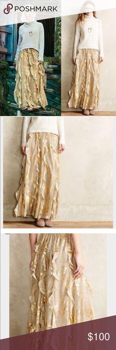 anthropologie fallen star maxi skirt pretty gold ruffles..never worn Anthropologie Skirts Maxi
