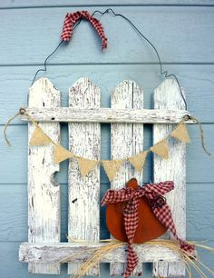 Rustic Picket Fence Door Hanger Welcome Home Decor