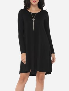 Plain Courtly Round Neck Shift Dress