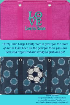 Families are busier today than ever!  Sally has dance. Johnny has soccer.  Not only do these activities take up a lot of time, but they require a lot of stuff!  The Thirty-One Large Utility Tote can help return the order to your home.  Personalize a bag for the activity.Then, when it is time to go to a dance competition or a soccer match, you can grab the bag and go.  Shown in Pink Cross Hatch with the Love Icon-it w/ Text in True Turquoise and Got Dots with the Soccer Ball Icon-it in Black. Large Utility Tote, 31 Bags, Soccer Match, Thirty One Gifts, Product Ideas, Soccer Ball, Sally, Activities For Kids, Competition