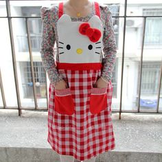 Hello Kitty Red White Lattice Lace Princess Fashional Apron