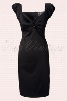 Collectif Clothing 50s Black Dolores Pencil Dress 10248 1W