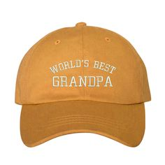 World's BEST GRANDPA Dad Hat, Embroidered Baseball Cap, Burnt Yellow by PrfctoLifestyle on Etsy.com