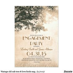 Vintage old oak tree & love birds engagement party card