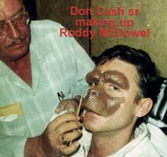 Roddy McDowell getting his 'ape' on for Planet of the Apes (1968)- there was no Academy Award for best make up until 1981 but if they had it for the '68 movies I am sure this would have won!