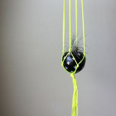 Neon Yellow Macrame Air Plant Hanging Planter with Air Plant - Black + White + Neon Yellow on Etsy, $34.38 AUD