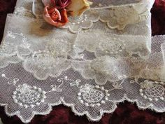 """7 Yards x 3"""" Pretty Antique French Net Lace Embroidered Trim Doll Dressing 