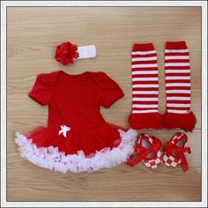4PCs per Set Infant Lace Romper Solid Red Baby Girls Tutu Dress Headband Shoes Leggings for 0-12months Free Shipping