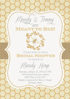 Vintage Look Bumblebee Meant to Bee Bridal by PartyPopInvites, $17.00