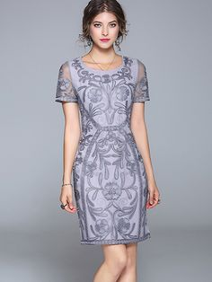 Chic O-Neck Short Sleeve Embroidery Bodycon Dress; Size: S,M,L,XL,2XL; Color: Gray,White; Material: Polyester; Style: Vintage; Silhouette: Sheath Dresses; Pattern Type: Print; Decoration: Embroidery; Dresses Length: Above Knee, Mini; Sleeve Style: Regular; Sleeve Length: Short; Waistline: Empire; Neckline: O-Neck; ; Price: US$ 71.49