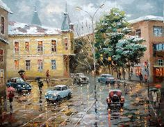 first snow by spirosart-d5t7mgg by spirosart  - City landscape Paintings by Dmitri Spiros   <3 <3