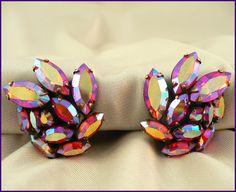 Regency Red AB Rhinestone Earrings - Vintage Designer Jewelry. $24.00, via Etsy MarlosMarvelousFinds