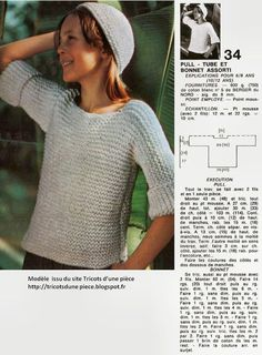 comment tricoter un pull tube - Anne-Laure Arnaud - Alles Knitting Patterns Free, Knit Patterns, Free Knitting, Baby Knitting, Perfect Beard, Hand Knitted Sweaters, Drops Design, Hair And Beard Styles, Knitting Projects